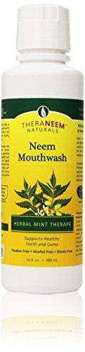 jason neem oils TheraNeem Neem Mouthwash, Herbal Mint | Freshens Breath, Supports Healthy Gums and Teeth, Vegan, Great Mint Taste | 16oz