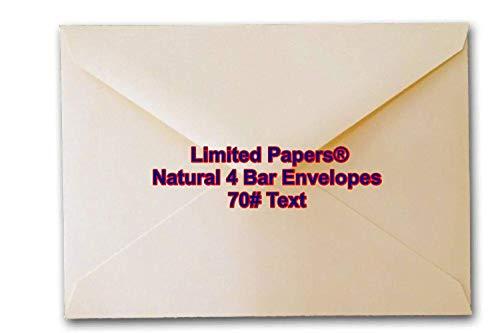 Limited Papers (TM) 4 Bar Envelope (3.5/8x5.1/8), Natural Color, 70 Pound Vallum Finish, 100 Envelopes