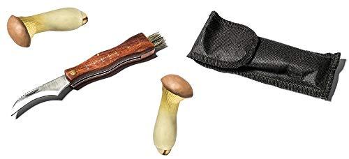 Pilzmesser braun, Naturfarben mit weicher Bürste und Lineal, Holzgriff rostfreie Klinge Edelstahl, Champignon Trüffel Taschenmesser mit Tasche - Klappmesser - Freizeitmesser - Messer mit Tasche
