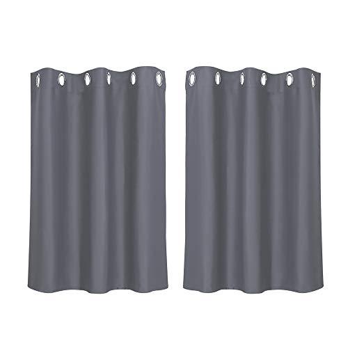 PiccoCasa 2 Stück Gardine für Küche, Polyester Scheibengardine Kurzgardine, Blickdicht Kleine Gardine Grau 90H x 107B cm
