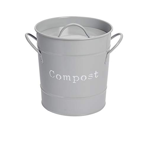 Harbour Housewares Komposteimer mit Deckel für die Küche - Metall im Vintage-Stil - Grau