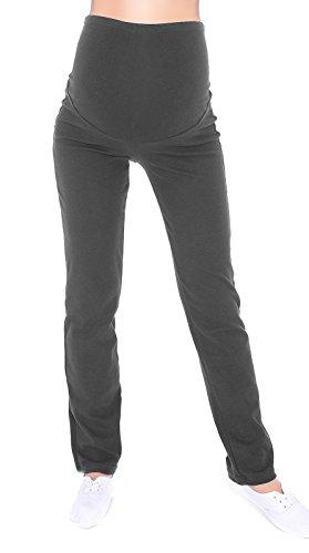 MijaCulture Schwangerschaftshose/Yogahose mit extra Bauch-Panel/Umstandsmode 3010 (XXL, Dunkegrau)
