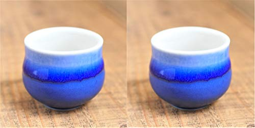 Minorutouki Mino-Yaki Japanisches Porzellan-Sake Ochoko Sakazuki Becher, 50 ml, tiefblau Nagashi, Japan Import 747215