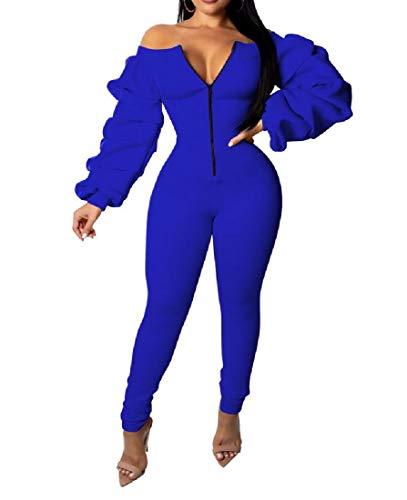Beeatree Damen Sweatsuit Set Schulterfrei Body-Con Dicker Jumpsuit Gr. Large, blau