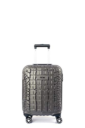 CCS Crocodile 8 Wheels Suitcase Trolley Carry On Hand Hard Shell Travel Bag Lightweight Luggage (Small, Anthracite Grey)