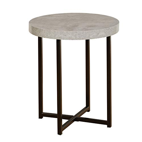 TMS Era Series Contemporary Round Living Room End Table, 19' W, Gray