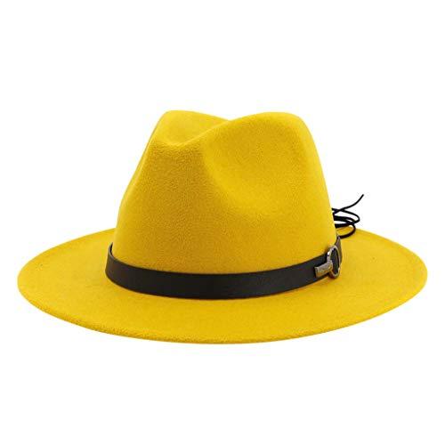 hongXIE5 Sun hat for Men/Women,Men & Women Vintage Wide Brim Hat with Belt Buckle Adjustable Outbacks Hats Tea Party Wedding Hat for Safari Fishing Hiking Beach Golf (Yellow)