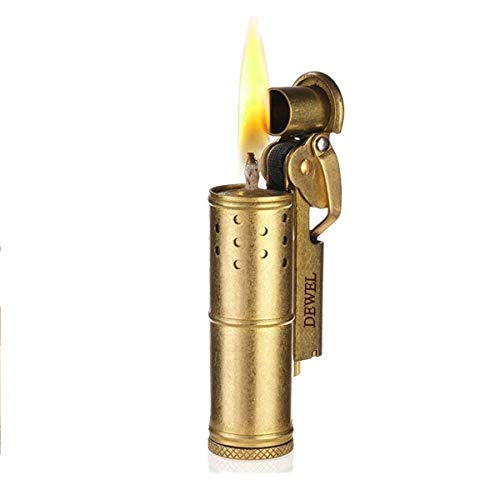 DEWEL Wheel Kerosene Lighter Trench Lighter Vintage Fine Copper Windproof Creative Personality Brass Lighter for Collection/Decorative/Gift/Present(Copper)