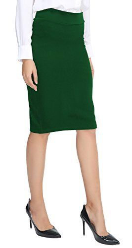 Urban CoCo Women's Elastic Waist Stretch Bodycon Midi Pencil Skirt (XL, Emerald Green)