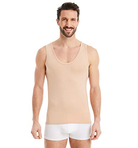 FINN Business Unterhemd Herren Ärmelloses Tank-Top Männer Unterziehshirt Micro-Faser Unsichtbare Hautfarbe Nude S