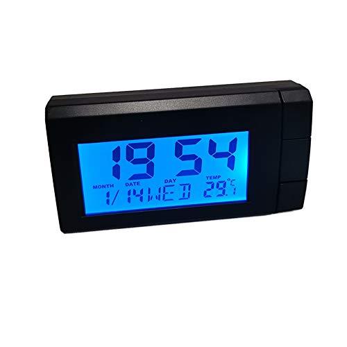 Iriisy Reloj Termómetro para Coche, 2 en 1 reloj para automóvil, pantalla digital, tablero de instrumentos para automóvil