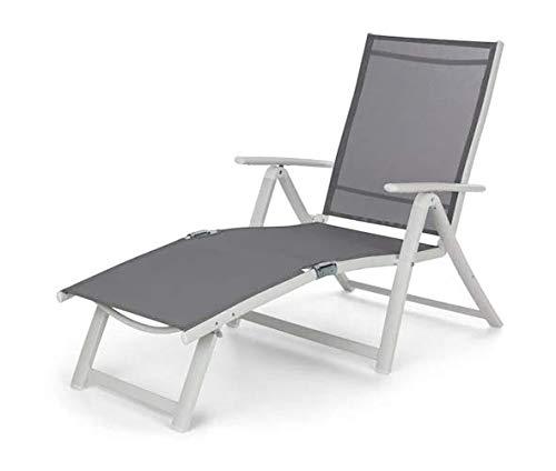 Blumfeldt Pomporto Lounge Tumbona de Exteriores - Hamaca para Tomar el Sol , Superficie de 173,5 x 51 cm , Respaldo reclinable a 7 Alturas , Superficie hidrófuga , ComfortMesh , Plegable , Blanco