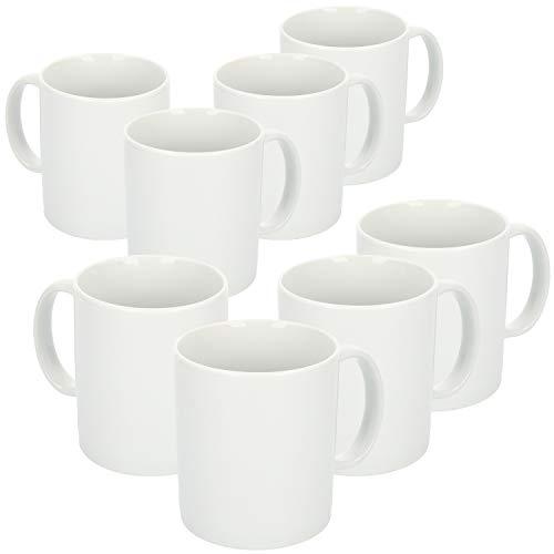 com-four® 8x Kaffeebecher aus Porzellan - Kaffee-Tasse im schlichten Design - Kaffeepott für Tee und Glühwein - 300 ml je Tasse