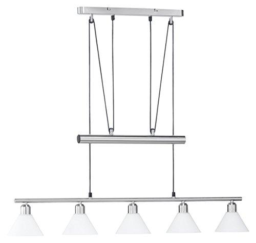 Trio Jojo-Balkenpendel, E14, L.: 102cm, Nickel matt, Glas opal mattweiß
