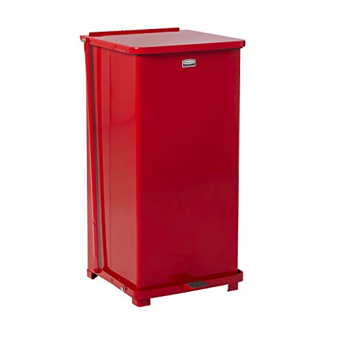 Rubbermaid Commercial Defenders Front Step-On Trash Can with Plastic Liner, 24 Gallon, Red, FGST24EPLRD