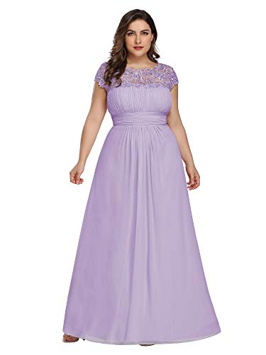 Ever-Pretty Womens A-Line Lace Plus Size Mother of The Groom Dresses for Women Lavender US 18