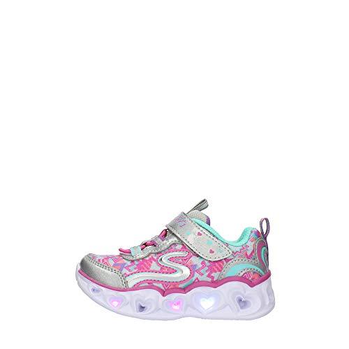 Skechers Zapatillas para niña, con corazones y luces, color Plateado, talla 26.5 EU