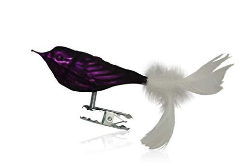 Vögel mit Federschwanz lila matt 3 Stück Christbaumschmuck Weihnachtsbaumschmuck mundgeblasen Lauschaer Glas das Original