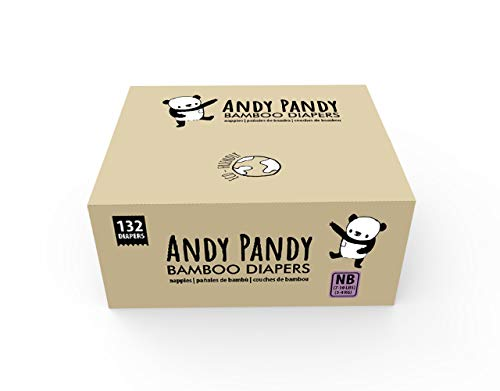 Andy Pandy Bamboo Disposable Diapers, Newborn, 7-10 lbs, White, 132 Count