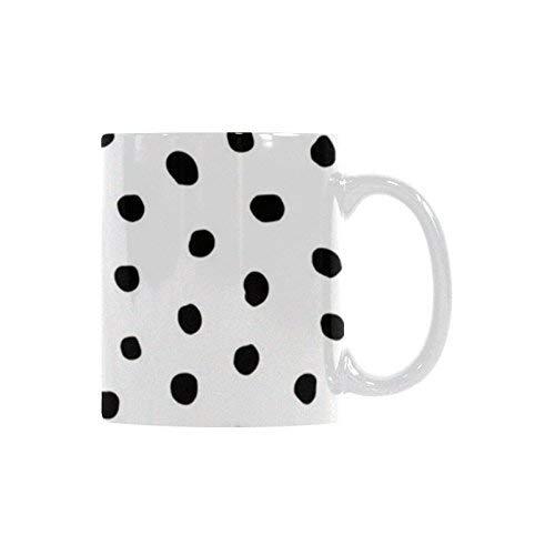Queen54ferna Taza de café de cerámica – Taza de té blanca personalizada de 325 ml – Lunares modernos – oficina, hogar, regalo de cumpleaños