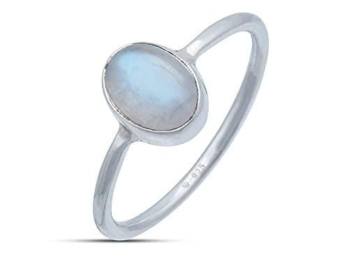 Schlichter Silberring mit großem Stein