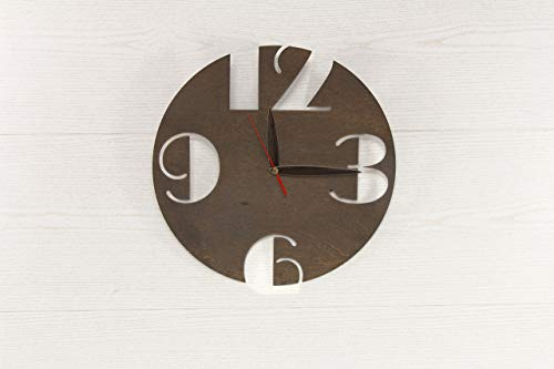 Rustikale Wanduhr - hölzerne Wanduhr - braune Wanduhr - moderne Wanduhr - skandinavischen Stil Uhr - dünne Holz Uhr - Boho Wanduhr