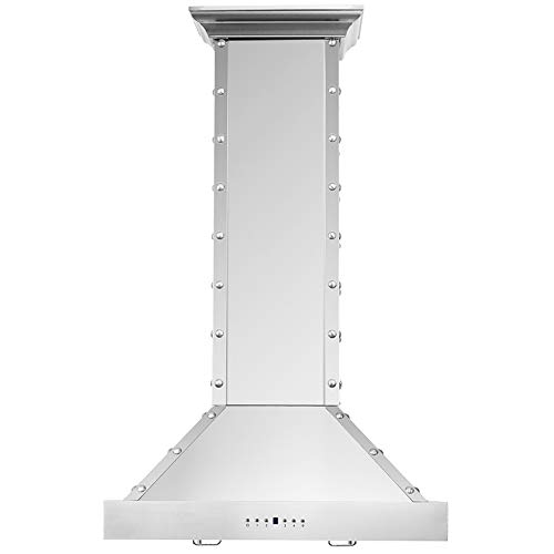 CAVALIERE Range Hood 30″ Inch Brushed Stainless Steel Wall Mount – 4 Speed Soft-Touch Electronic Control Panel With LED Lighting, Stainless Steel Baffle Filters, 900 CFM