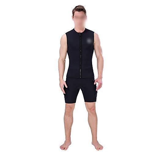 WLXP Men Vest Swimsuit Full Body Swimwear Diving Suits Diving Suit Diving Warm Vest 3mm Full Velvet Diving Suit Wet Suit Sleeveless Diving (Color : Black, Size : L)
