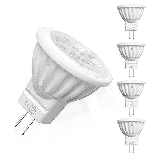Bonlux 4W MR11 GU4 12V Bombilla LED Spot Lámpara con 300 Lúmen, 30W Equivalente (4-Unidades, Luz Fría 6000K)