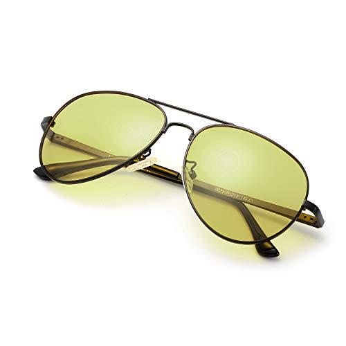 SODQW Occhiali Da Sole Polarizzati Fotocromatici Da Notturni per Uomo 100% UVA UVB Protezione Metallo Cornice Ultra Leggero per Sportivi Guida (Nero Giallo(fotocromatici))
