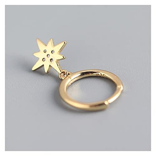 925 Sterling Silver Moon Star Hoop Pendiente para las mujeres Hombres Joyería de Joyería Regalos por YESYI SHMGO (Gem Color : Silver Color)