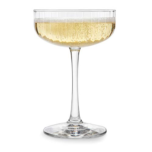Libbey Cocktail, Set of 4 Paneled Glasses, Coupe (8.5 oz)