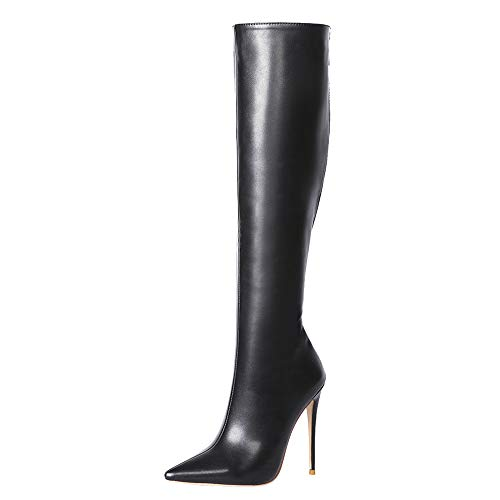Lydee Damen Mode Kniestiefel Stiletto Heels Back Zipper Büro Lange Stiefel Party Hohe Stiefel Black-Matte Gr 40