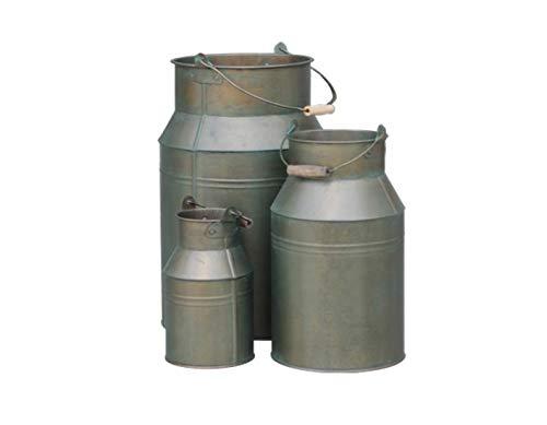 Hochwertiges Zinkgefäß/Zinkbehälter zum Bepflanzen - Farbe: Bronze - Indoor & Outdoor - Frostfest - Pflanzgefäß/Garten Dekoration (Milchkanne - 3er Set)
