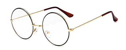 Retro klare Linse Gläser round ohne stärke brille Metall Brillengestell Dekorative Flachglasbrille Für Mann Frau