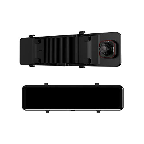 Espejo retrovisor cuadrado de 12 pulgadas, grabadora de conducción de medios de transmisión de alta definición, lente dual táctil de pantalla completa, espejo retrovisor inteligente con pantalla tácti