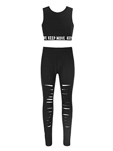 Freebily Kinder Mädchen Gymnastik Outfits Trainingsanzug Ärmelloses Sport Crop Top und Leggings Laufanzug Dancewear Schwarz B 158-164
