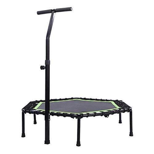 JHUEN Trampolín de Ejercicio Plegable para Adultos o niños, Fitness Rebounder Trampoline con manija Ajustable Bar Bungee Rebounder para Gimnasio/Hogar/Oficina Máx.Carga 300kg en Verde