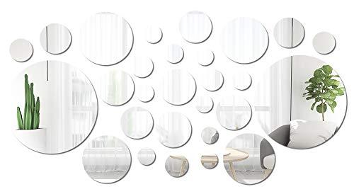 Jmitha Pegatinas Espejo Pared, 36pcs Redondo Hojas de Espejo Autoadhesivas, Pegatinas de baldosas, Pegatinas de Pared de Espejo Flexibles Suaves No Cristal para decoración del Hogar