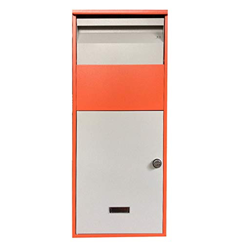 HWF Briefkasten Extra groß Diebstahlsicherung Veranda Briefkasten für Pakete & Boxen, Paket-Dropbox Verzinktes Metall Postfach abschließen für Außenhaus Curbside Wall (Color : Orange)