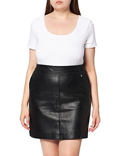 Pepe Jeans Falda de cuero sintético, corte recto, negro