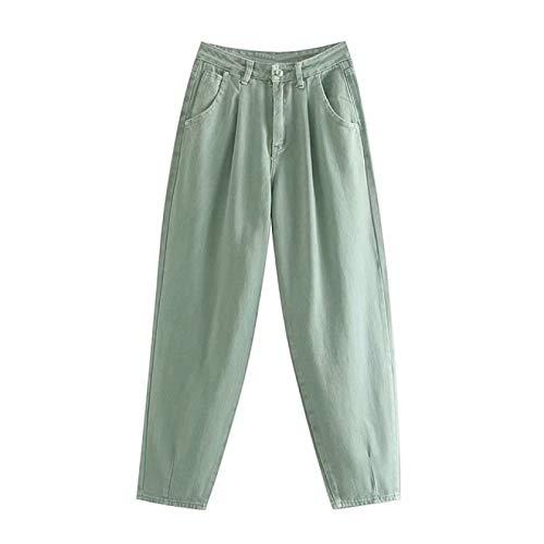 DTKJ Mujer Streetwear Plisado Mamá Jeans de Cintura Alta Sueltos Vaqueros
