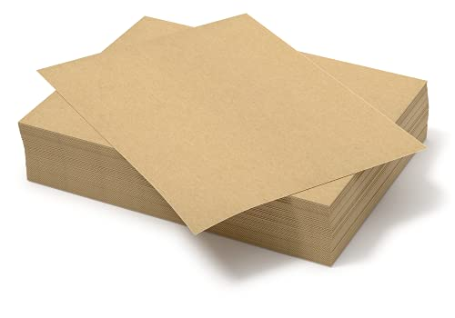 Chipboard Sheets 8.5' x 11' - 100 Sheets of 22 Point Chip Board for Crafts - This Kraft Board is a Great Alternative to MDF Board and Cardboard Sheets