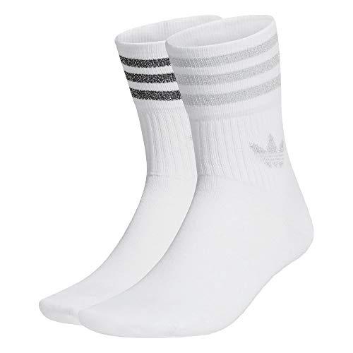 adidas Mid Cut Glitter Socks Socken 2er Pack (40-42, white/silver)