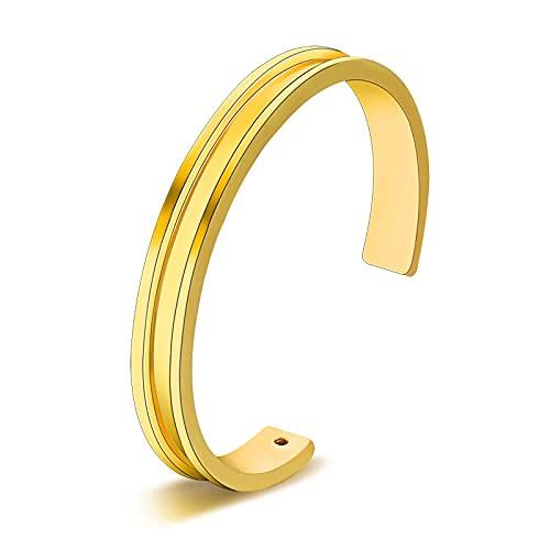 Forever and EverHair - Pulsera de corbata abierta para mujer y hombre, color dorado