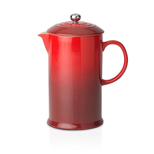 Le Creuset Kaffee-Bereiter/French Press mit Edelstahl-Presseinsatz, 800 ml, Steinzeug, Kirschrot