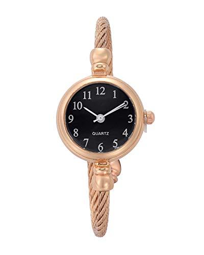 JSDDE Uhren Vintage Damen Armbanduhr Chic Manschette Damenuhr Spangenuhr Rund Armreifen Armkette Uhr Quarzuhr Kleideruhr für Frauen (Rosegold-Schwarz)