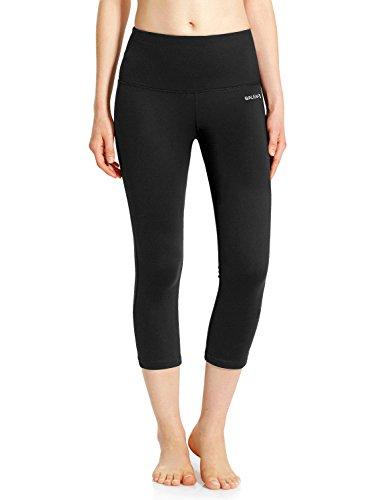 Baleaf Women's High Waist Yoga Capri Leggings Tummy Control Non See-Through Fabric Black Size M