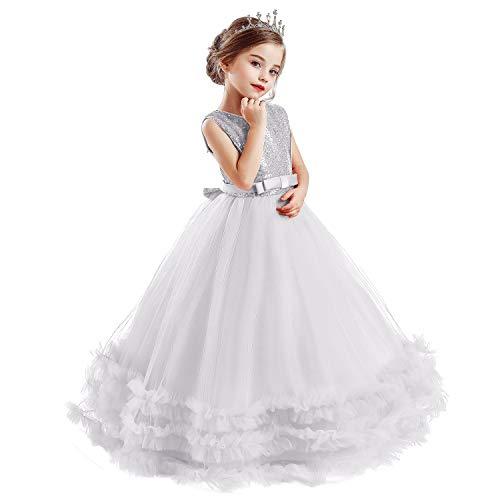 TTYAOVO Mädchen Prinzessin Pageant Kleid Kinder Prom Ballkleider Pailletten Hochzeit Blume Flauschigen Kleider Größe (120) 4-5 Jahre Weiß &