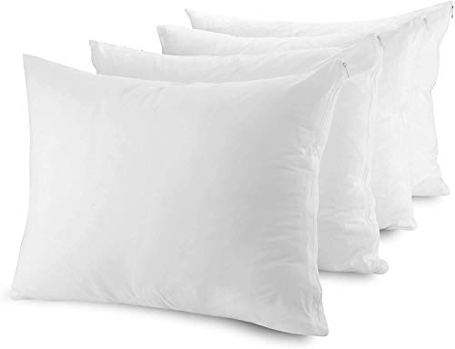 Mastertex Pillow Protectors Zippered Cases, Poly Cotton Pillow Covers Hypoallergenic, Breathable and Quiet (No Pillows Included) (Standard Set of 4, White)